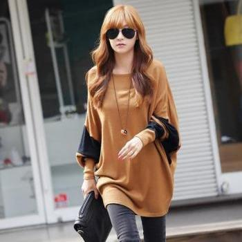 Women's fashion stitching loose big yards long section of the long-sleeved T-shirt(One size)
