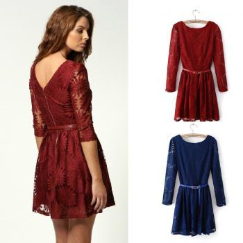 Slim temperament OL commuter package hip lace dress